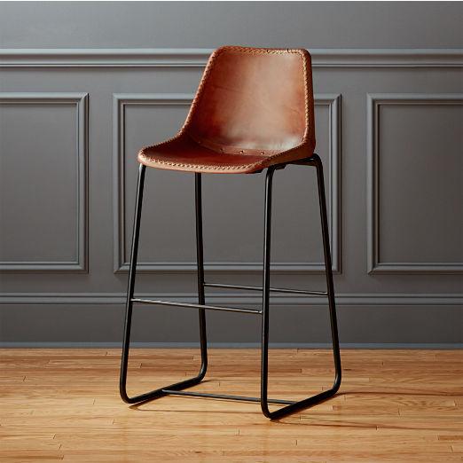 Modern Leather Bar Stools Cb2