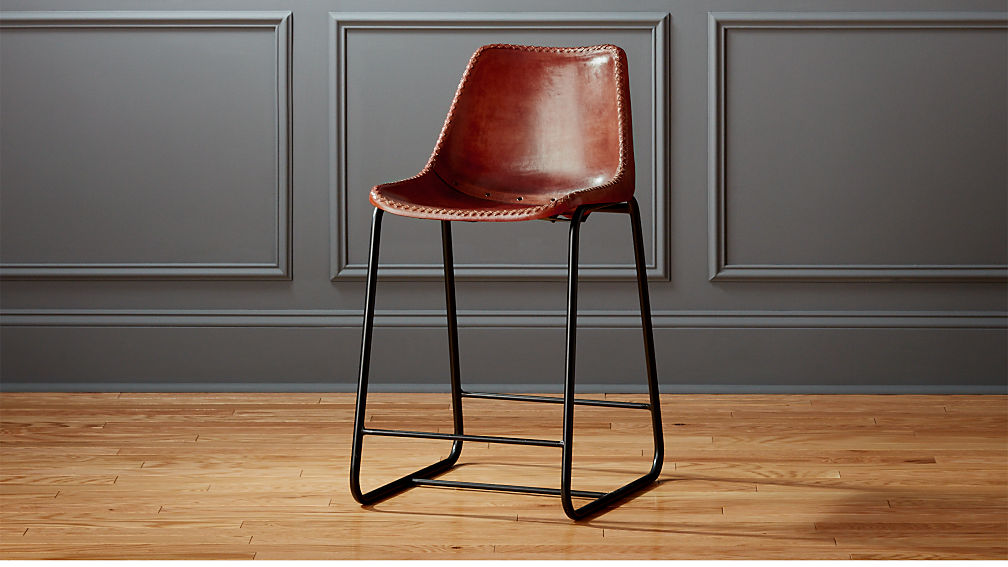 Roadhouse 24 Quot Leather Counter Stool Reviews Cb2