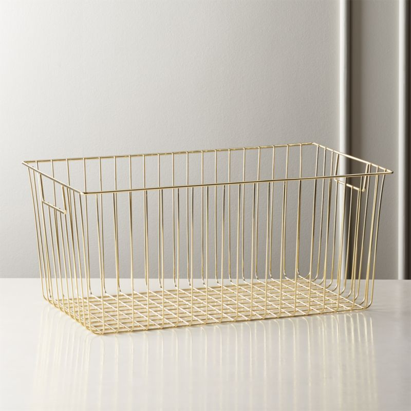 Roscoe Large Rectangle Metal Basket by Crate&Barrel