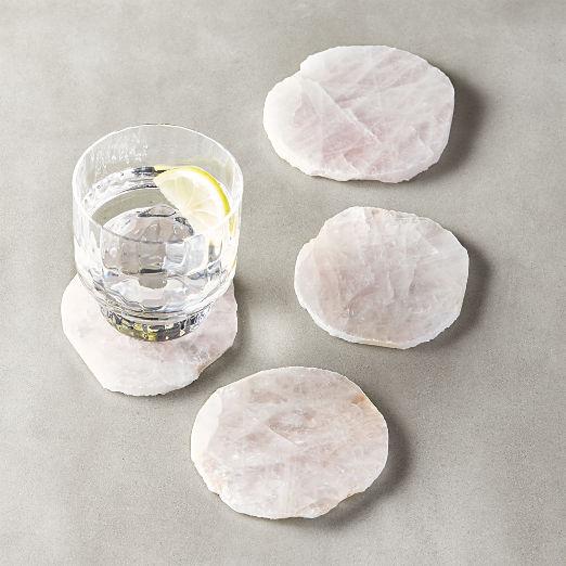 Rose Quartz Coasters Set of 4