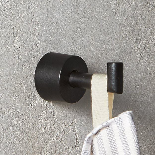 Shop ROUGH CAST BLACK TOWEL HOOK from CB2 on Openhaus