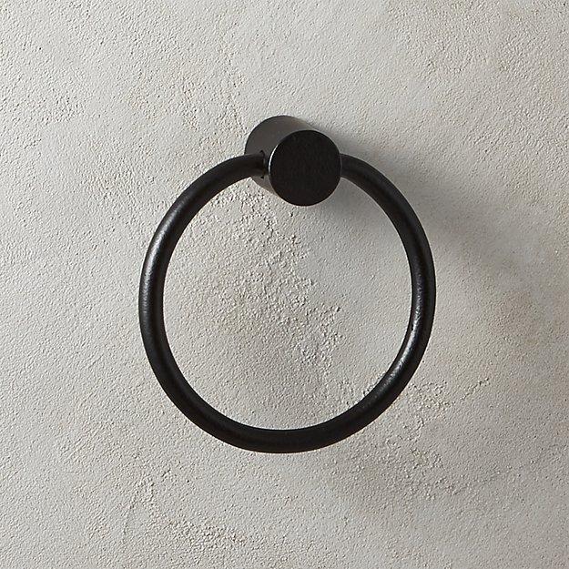 Rough Cast Black Towel Ring - Image 1 of 5