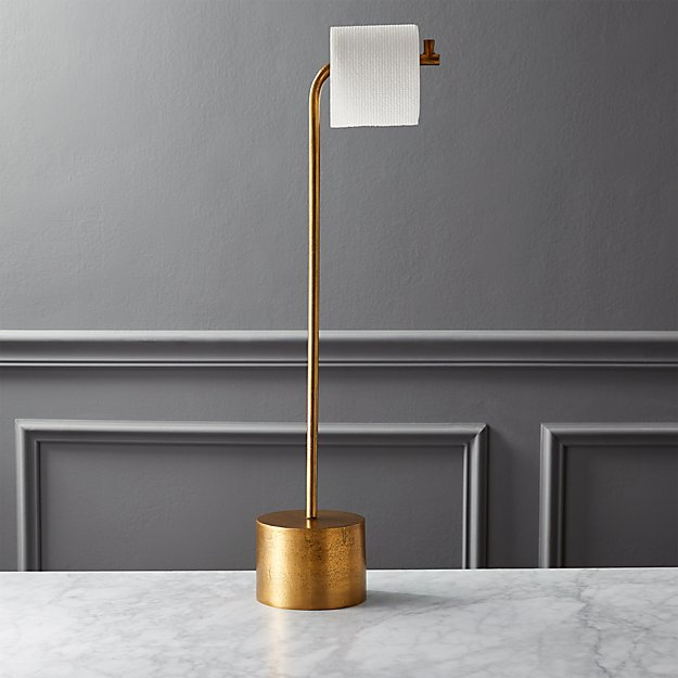 Rough Cast Brass Standing Toilet Paper Holder - Image 1 of 4