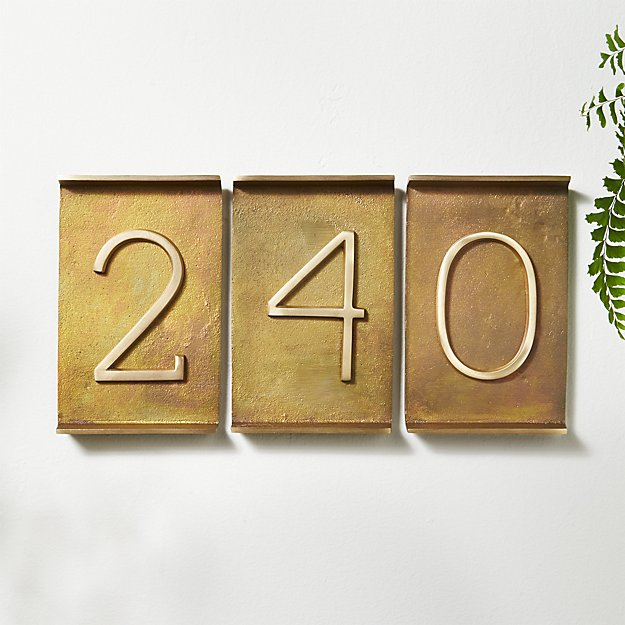 Rough Cast Brass House Numbers - Image 1 of 11