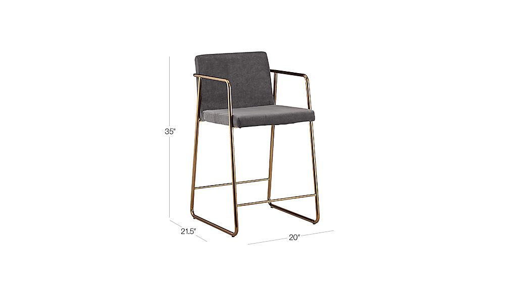 Rouka Grey Upholstered Bar Stools Cb2