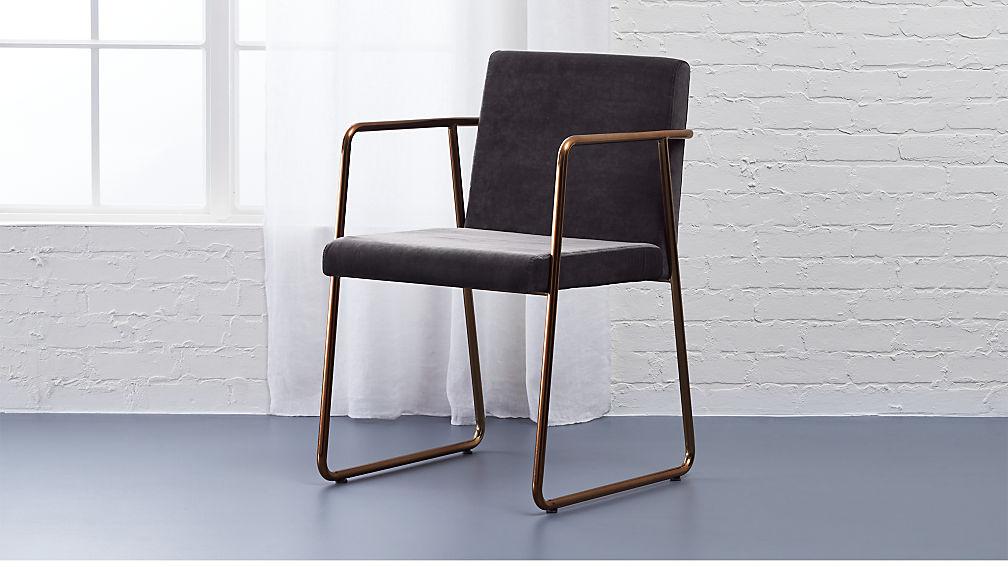 Beau Rouka Dark Grey Dining Chair + Reviews | CB2
