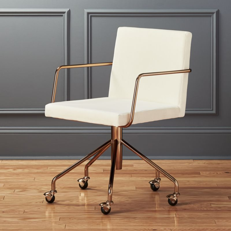 Delicieux Rouka White Velvet Office Chair