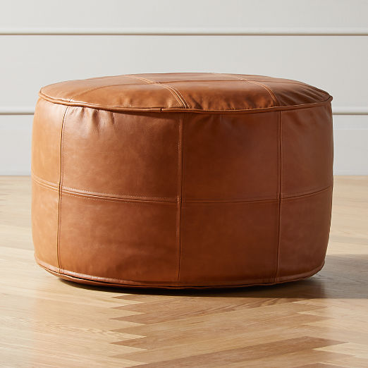 Round Saddle Leather Pouf Medium