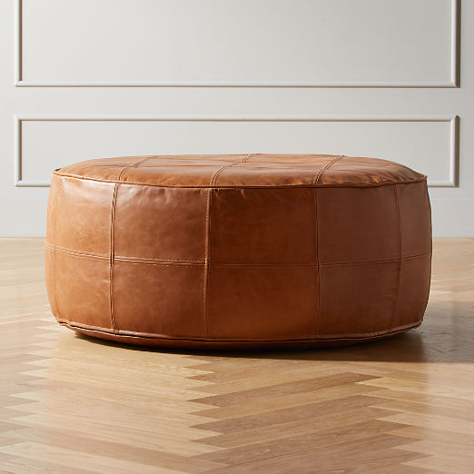 Round Saddle Leather Pouf-Ottoman