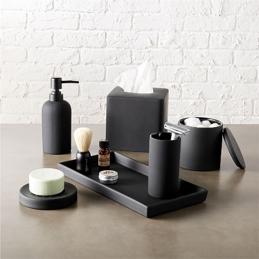 Rubber Coated Black Bath Countertop Accessories