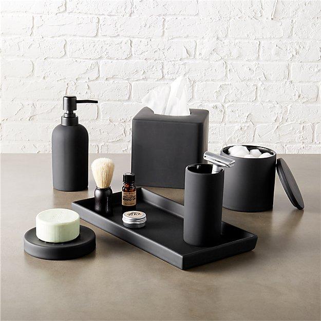 Bathroom Accessories.Rubber Coated Black Bath Countertop Accessories