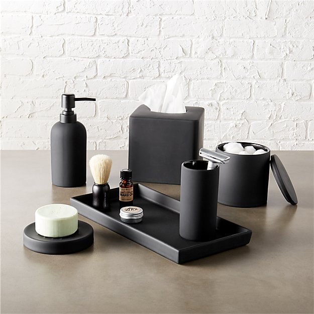 black and white bathroom set rubber coated black bath accessories cb2 22731