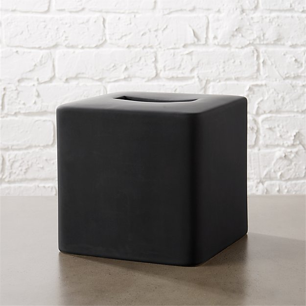 Rubber Coated Black Tissue Box Cover - Image 1 of 12