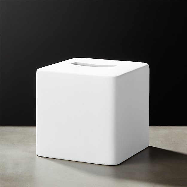 White Rubber Coated Tissue Box Cover - Image 1 of 10