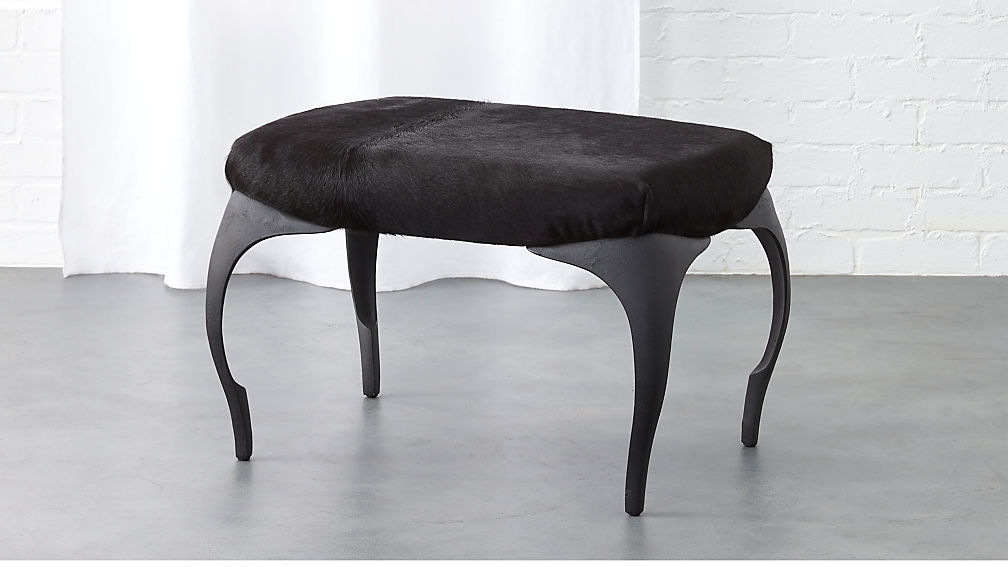 Runi Black Cowhide Ottoman + Reviews | CB2