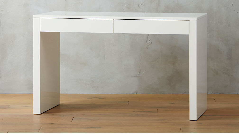 White Desk In Runway White Lacquer Desk Reviews Cb2
