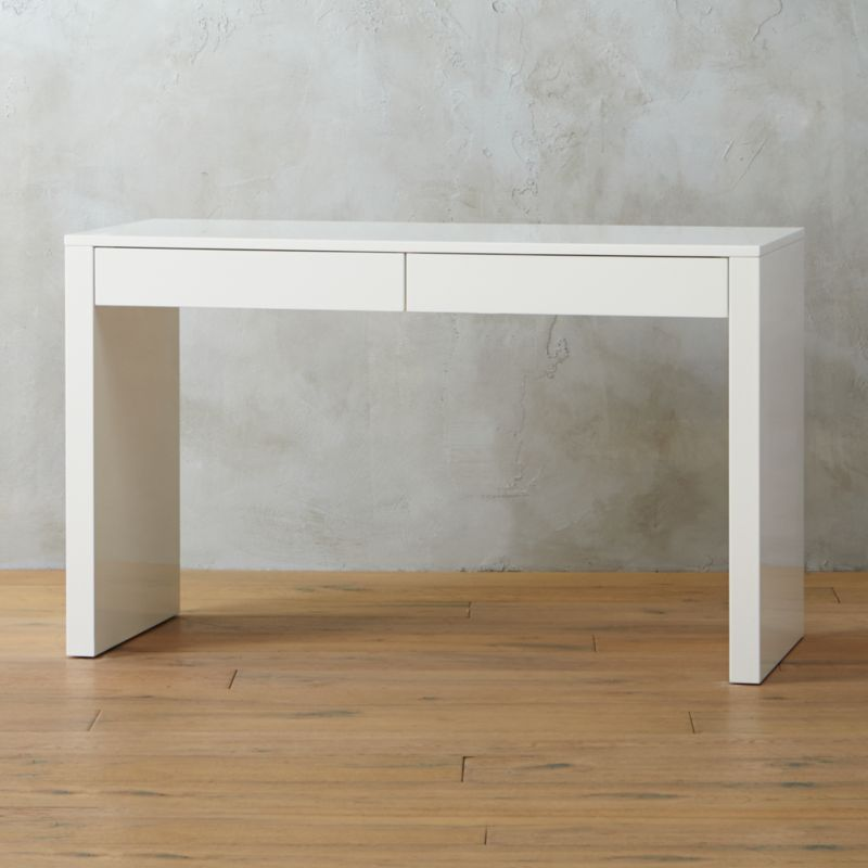 Runway White Lacquer Desk