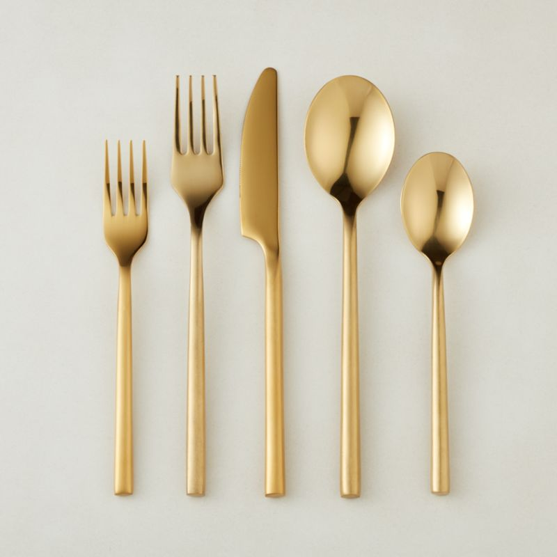 20 Piece Rush Brushed Gold Flatware Set Reviews Cb2