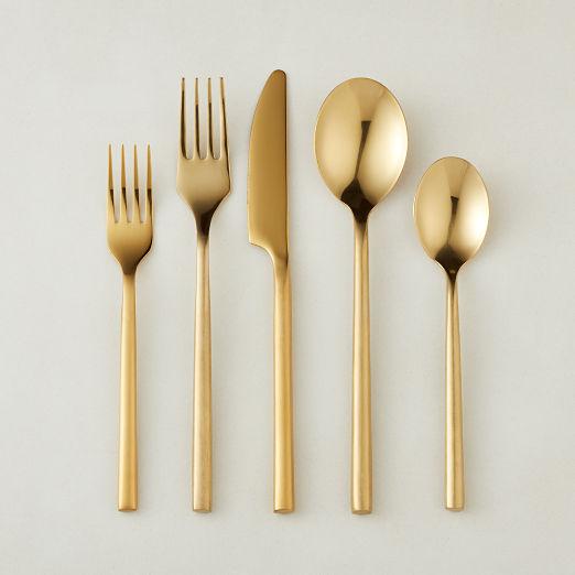 20-Piece Rush Brushed Gold Flatware Set