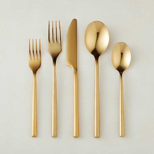 20-Piece Rush Brushed Gold Flatware Set - Image 1 of 11