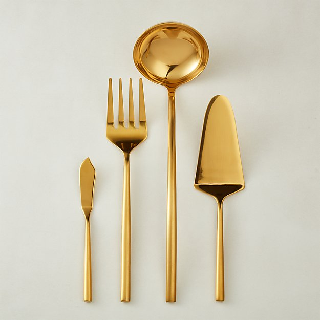4-Piece Rush Brushed Gold Serving Utensil Set - Image 1 of 11
