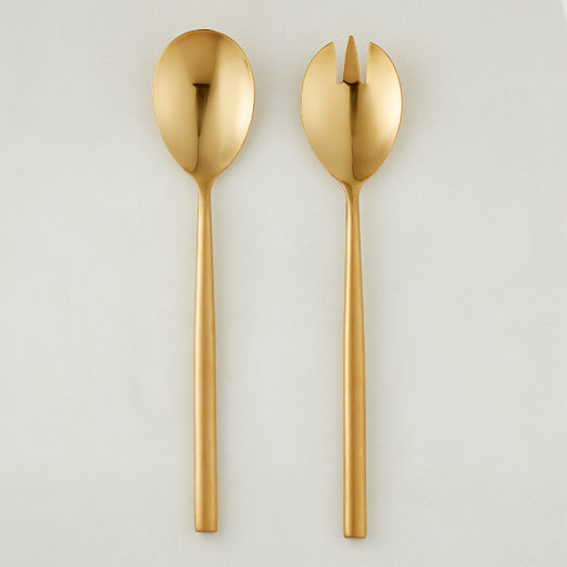 Rush Brushed Gold Serving Spoons