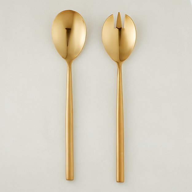 Rush Brushed Gold Serving Spoons Cb2