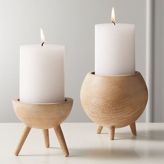 Russell White Wash Wood Pillar Candle Holders