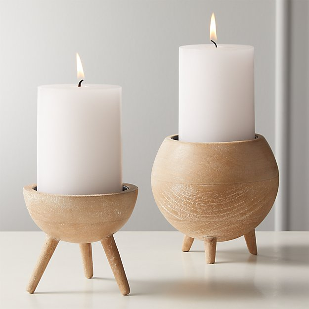Russell White Wash Wood Pillar Candle Holders - Image 1 of 8