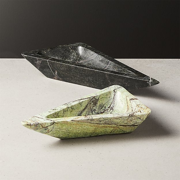 Duplex Marble Triangle Bowls Set of 2 - Image 1 of 6