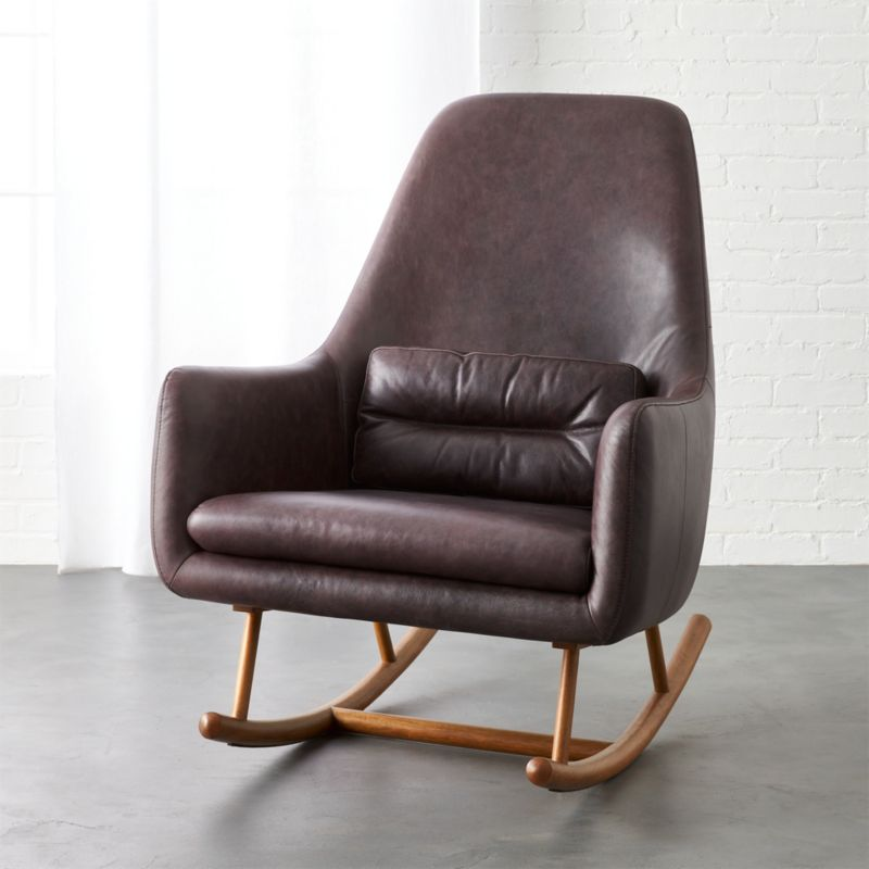 SAIC Quantam Black Leather Rocking Chair