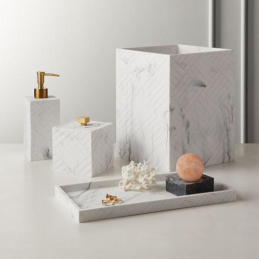 Santi White Marbleized Bath Accessories