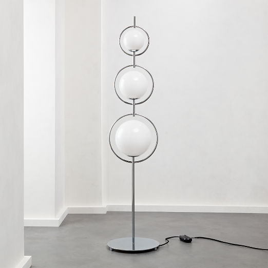 Saturno Globe Nickel Floor Lamp