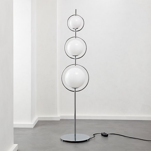 Saturno Globe Nickel Floor Lamp - Image 1 of 7