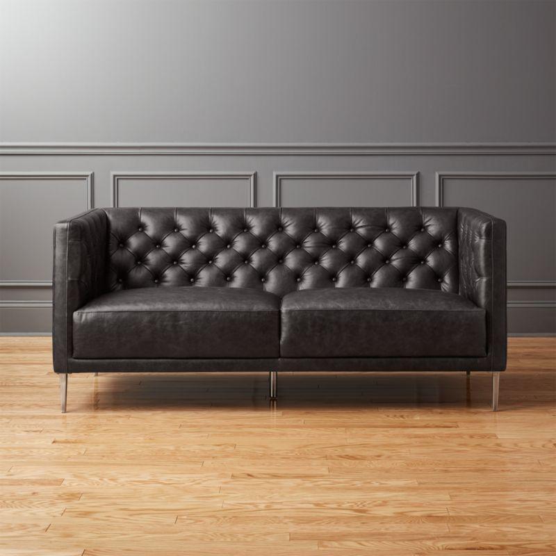 Savile Black Leather Tufted Apartment Sofa