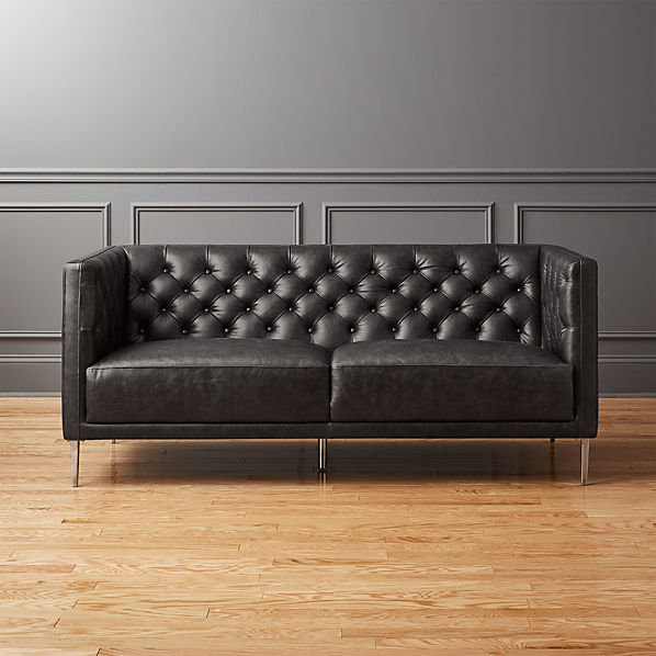 Cool Savile Black Leather Tufted Apartment Sofa Evergreenethics Interior Chair Design Evergreenethicsorg
