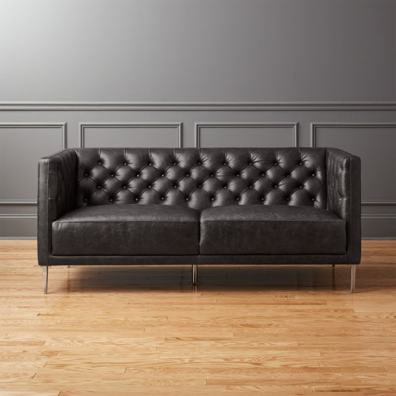 Savile Black Leather Tufted Apartment Sofa + Reviews | CB2