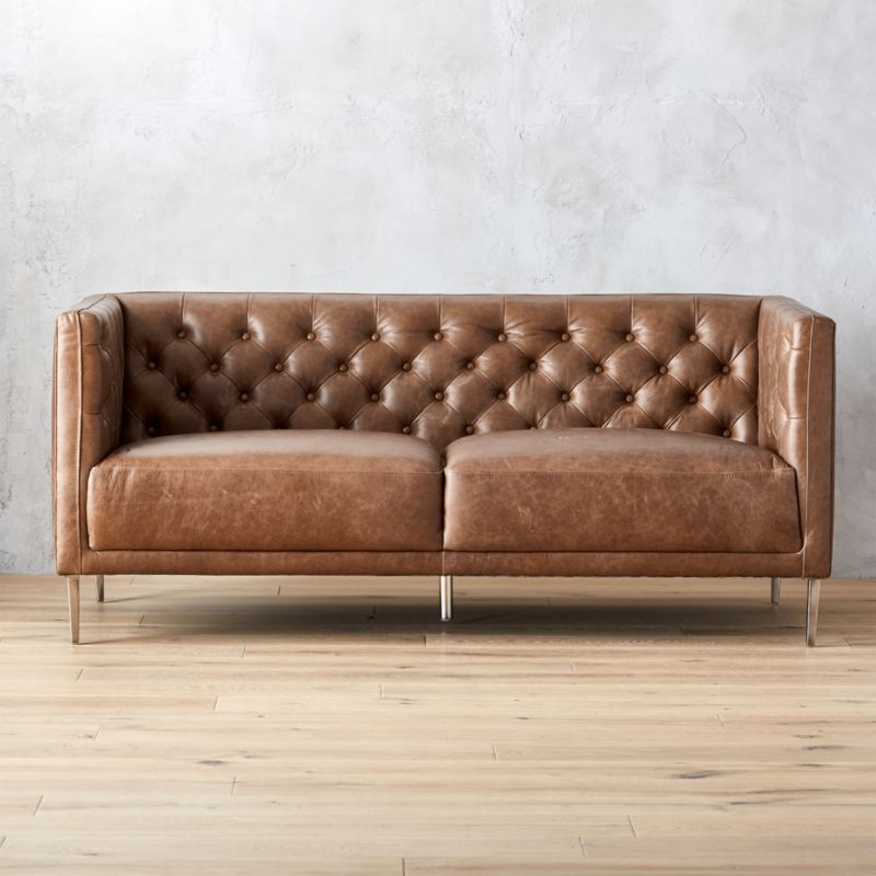 Savile Dark Saddle Leather Tufted Apartment Sofa