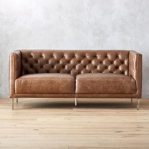 Savile Dark Saddle Leather Tufted Apartment Sofa