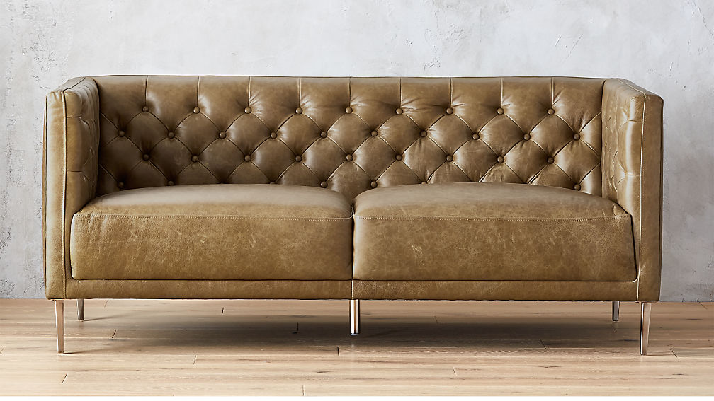 Savile Saddle Leather Tufted Apartment Sofa + Reviews | CB2