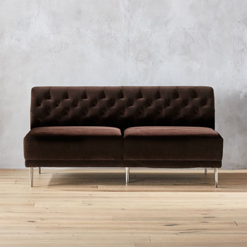 Marvelous Savile Cocoa Brown Velvet Tufted Armless Sofa