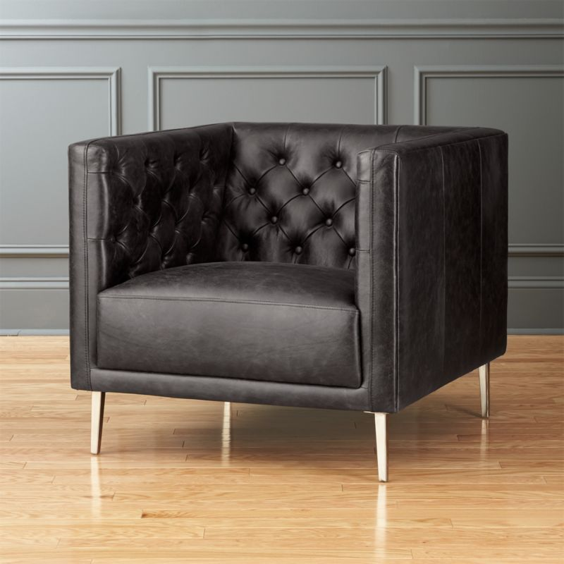 black leather oversized chair modern club chairs cb2 11220 | savile black leather tufted chair