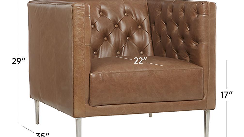 Savile Dark Saddle Leather Tufted Chair Reviews Cb2