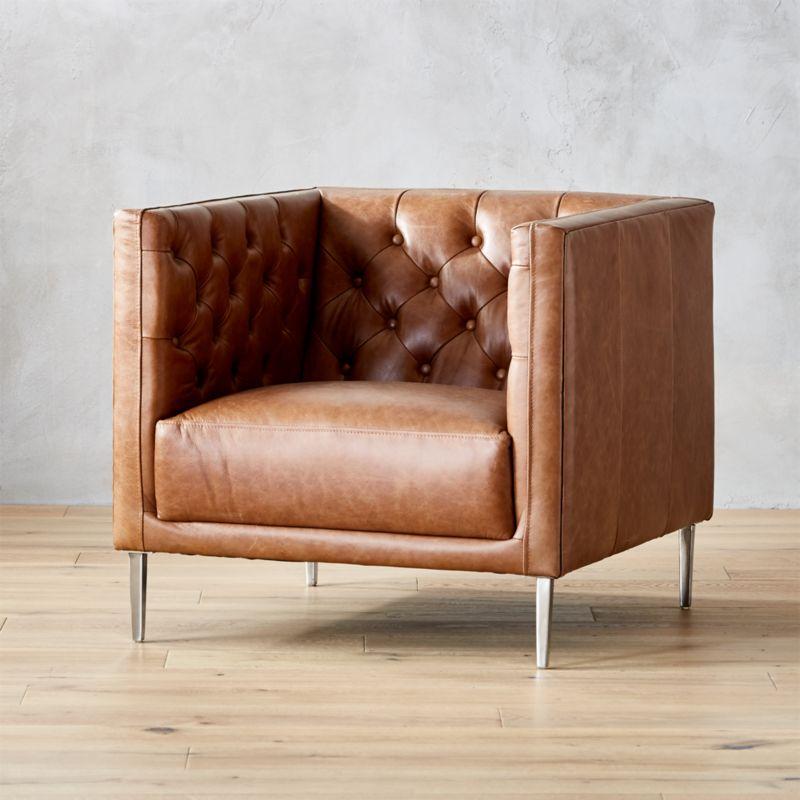 Savile Dark Saddle Leather Tufted Chair