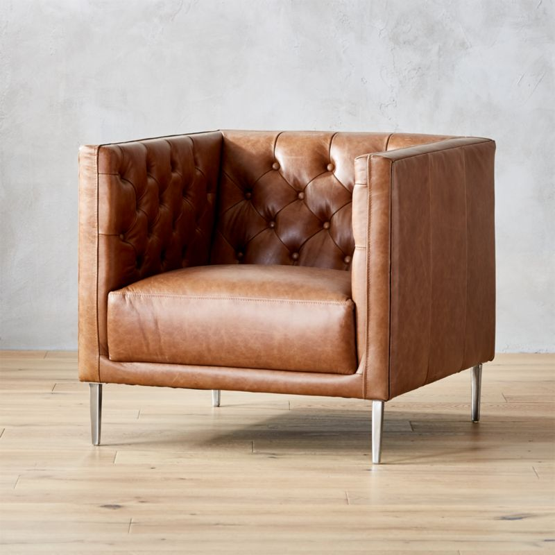 Amazing Savile Dark Saddle Leather Tufted Chair
