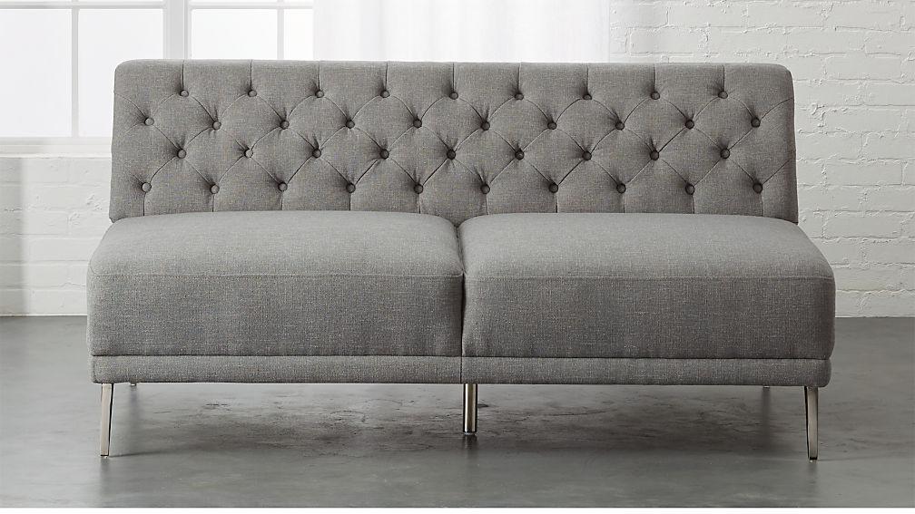 Savile Dale Grey Tufted Armless Sofa + Reviews | CB2