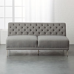 Savile Gris Tufted Armless Sofa