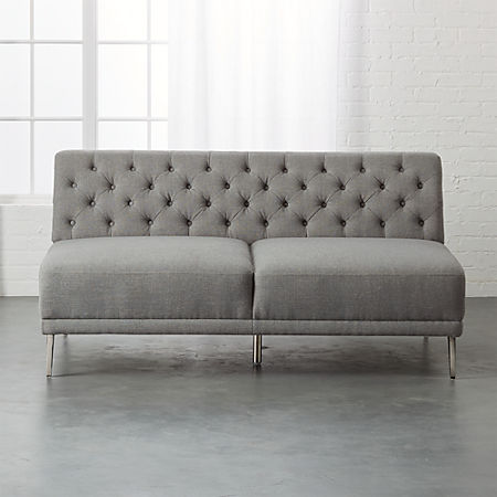 Savile Dale Grey Tufted Armless Sofa | CB2