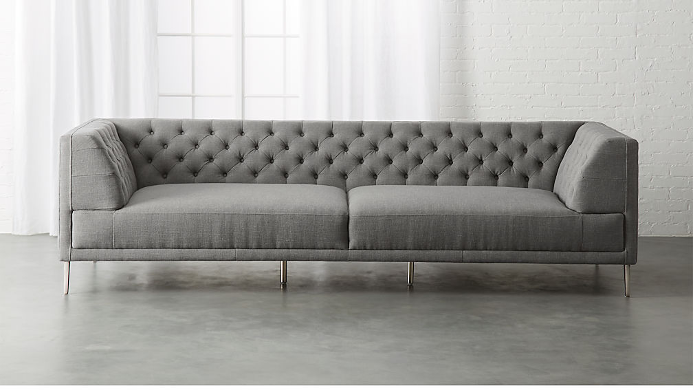 Savile Taylor Grey Tufted Extra Large Sofa + Reviews | CB2