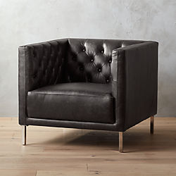 Gentil Savile Black Leather Tufted Chair